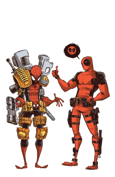 Spider_Man_vs__Deadpool_cover_by_skottieyoung